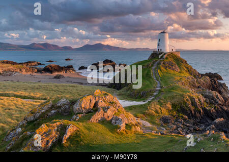 Twr Mawr ligthouse on Llanddwyn Island at sunset, Anglesey, North Wales. Autumn (September) 2017. - Stock Image