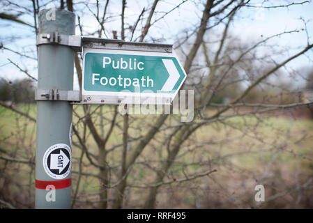 Modern UK public footpath signage in the countryside - Stock Image