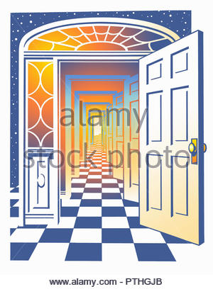 Lots of doors opening to vanishing point - Stock Image