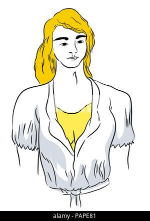 Nightwear.  Beautiful blond young woman wearing nightwear. illustration of sleeping suit and girl. - Stock Image