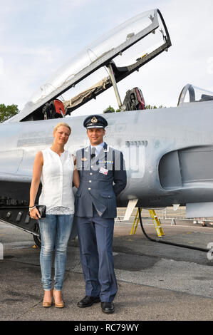 Major Martin 'Tintin' Tesli and wife, with his newly acquired Canadair CT-133 Silver Star. Royal Norwegian Air Force - Stock Image