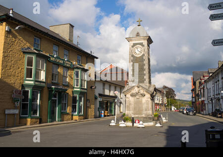 Rhayader town center and memorial clock tower, Powys Wales UK - Stock Image