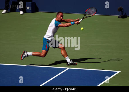 Flushing Meadows, New York - September 3, 2018: US Open Tennis:  Philipp Kohlschreiber of Germany in action against Kei Nihsikori of Japan during their fourth round match at the US Open in Flushing Meadows, New York. Credit: Adam Stoltman/Alamy Live News - Stock Image