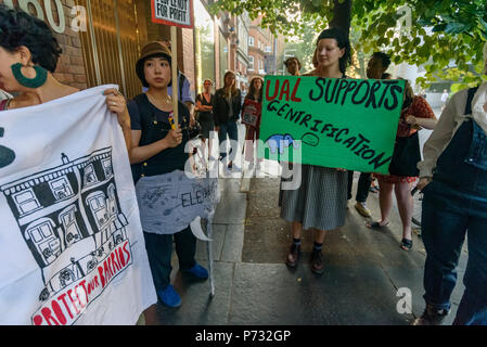 London, UK. 3rd July 2018. Protesters outside Southwark Council Offices call on the Council Planning Committee to reject the plans by tax avoiding property giant Delancey and University of the Arts London to demolish the Elephant & Castle Shopping Centre  and replace it with luxury housing and a new building for the London College of Communication. Credit: Peter Marshall/Alamy Live News - Stock Image