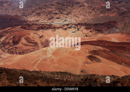 Mount Teide, Tenerife, Canary Islands. The Crater from the Top of the Volcano. - Stock Image