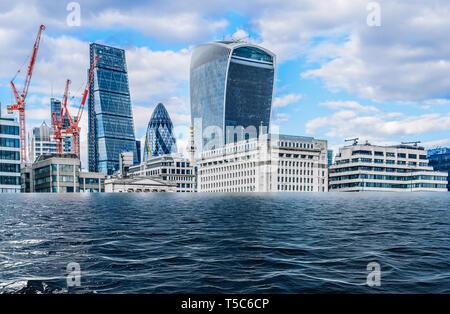 Digital manipulation of flooded City of London, UK - global warming, climate change concept. - Stock Image