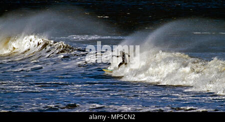 A solitary surfer rides an incoming wave in Scarborough's North Bay. - Stock Image