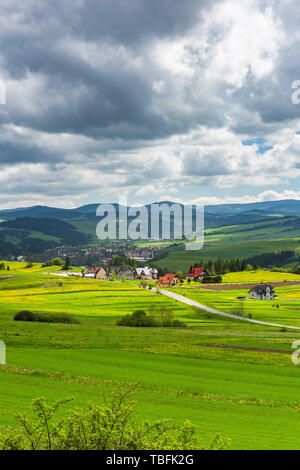Polish countryside and farming in Pieniny National Park, Poland. - Stock Image