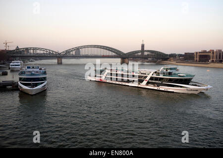 KD RheinEnergie river Rhine cruiser, Cologne, Germany. - Stock Image