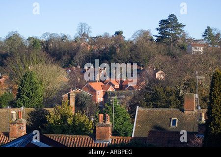 Woodbridge Houses Roof tops Suffolk England - Stock Image