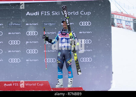 08 Dec 2018 Podium presentation Matts Olsson of Sweden 3rd in  Val d'Isere men's Giant Slalom Audi FIS Alpine Ski World Cup 2019 - Stock Image