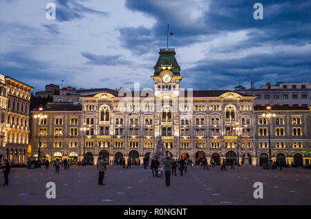 Town Hall of Trieste, the eclectic work of Giuseppe Bruni (1872–1875). The building stands in the main town square of Trieste - Piazza Unità d'Italia - Stock Image