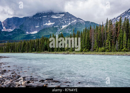 Another mountains view of Jasper National Park. - Stock Image