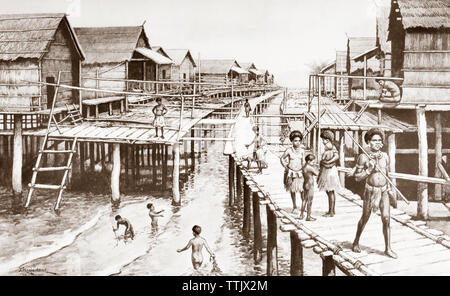 EDITORIAL ONLY   Stilt houses in Port Moresby, Papua New Guinea.  After a work by J. Macfarlane. From a contemporary print c.1935. - Stock Image