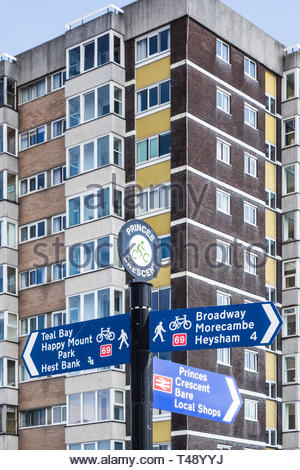 A sign for pedestrians and cyclists on the promenade at  Princes Crescent on Marine Road in Bare, Morecambe, Lancashire, England - Stock Image