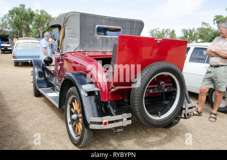 Rear view of 1927 Oldsmobile Cabriolet with Dicky seat open. On display near Tamworth Australia March 2019. - Stock Image