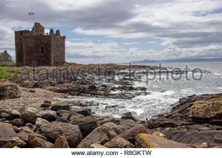 Portencross, North Ayrshire, Scotland, UK - July 19,2015:Portencross Castle located in Portencross, on the west coast of Scotland, near West Kilbride - Stock Image