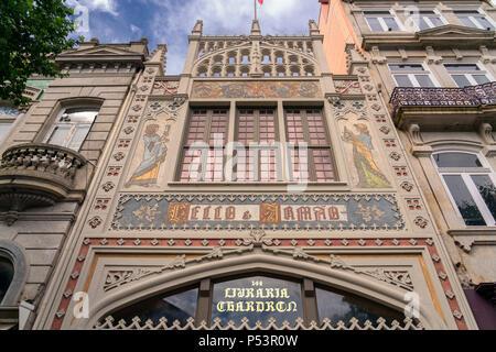 Exterior of the famous Lello Bookshop Porto Portugal - Stock Image