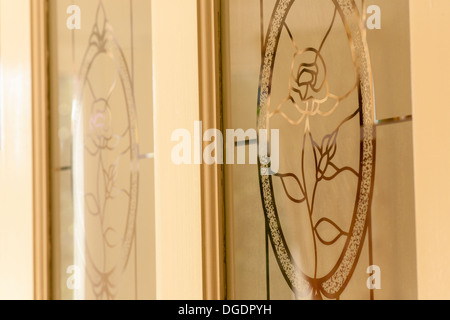 Etched glass in a house door - Stock Image
