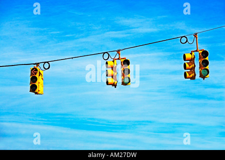 travel, transportation, go, outdoors, signs, North, America, road, roads, communication, red, intersections, symbolic, - Stock Image