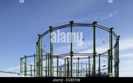 Three gasometers / gas holders near Kennington Oval, London - Stock Image