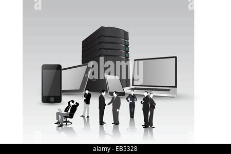 Media devices with server tower and business people - Stock Image