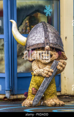 A Mythical Viking Figure,Honningsvag, Norway - Stock Image