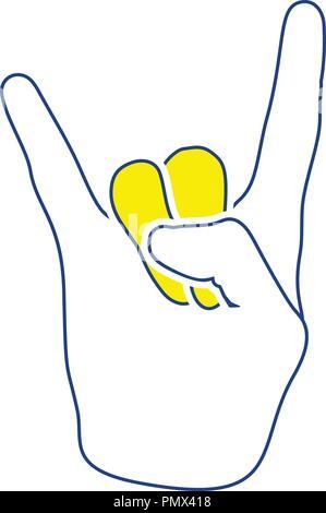 Rock hand icon. Thin line design. Vector illustration. - Stock Image