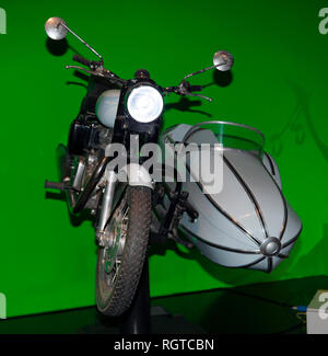 Hagrid's motorbike and sidecar as used in Harry Potter and the Deathly Hallows - Part 1, Warner Brothers Studio, Leavesdon - Stock Image