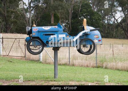 Bugatti-themed roadside mailbox outside Daylesford, central Victoria, Australia - Stock Image
