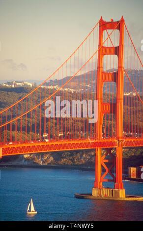 California Marin Headlands Golden Gate Bridge sailboat San Francisco beyond - Stock Image