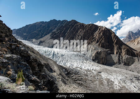 Ghulkin Glacier, near Bortih lake in Pakistan - Stock Image
