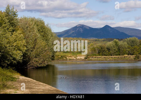 The Percy Peaks as seen from the Connecticut River in Maidstone, Vermont. - Stock Image