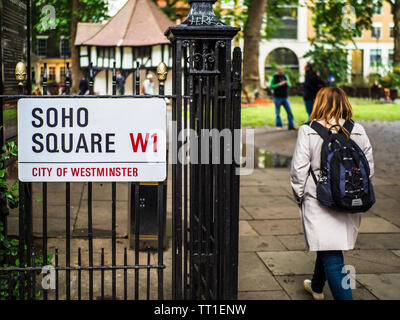 Soho Square W1 -  Soho Square is a green space in London's Soho Entertainment District dating back to 1681 - London's Soho district Street Signs - Stock Image