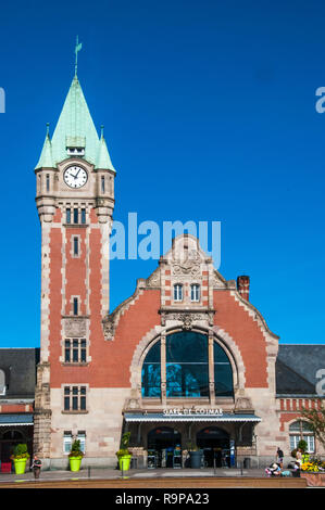 Railway station (1905) at Colmar, Alsace, France - Stock Image