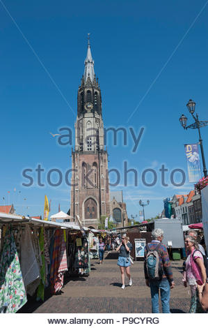 Delft The Netherlands Nieuwekerk, New Church a building started in 1351. Markt / Market. - Stock Image