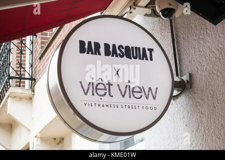 Close up of signboard at Bar Basquiat in the Javastraat in Amsterdam, the Netherlands - Stock Image