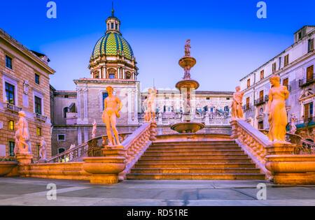 Palermo, Italy. Monumental Fontana Pretoria in Piazza Pretoria, heart of the historic capital of Sicily. - Stock Image