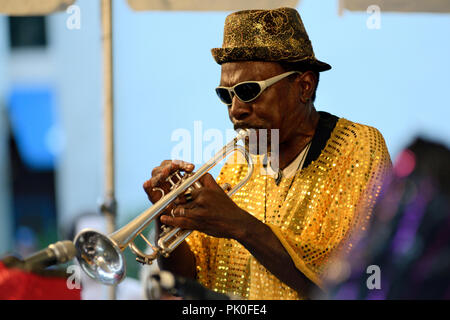 Improv Jazz troupe Sun Ra Arkestra made a rare hometown appearance at the Summer Concert Series in University City, Philadelphia, PA, on July 28, 2012 - Stock Image