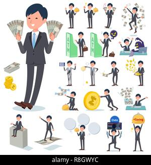A set of businessman with concerning money and economy.There are also actions on success and failure.It's vector art so it's easy to edit. - Stock Image