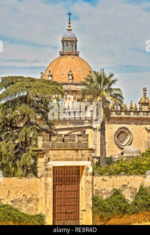 The Cathedral Viewed From The Alcazar Jerez de la Frontera Andalucia Spain - Stock Image
