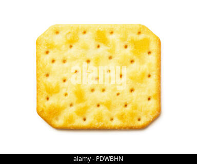 Top view of cheesy cracker isolated on white background - Stock Image