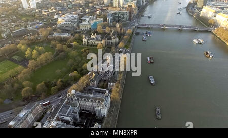London Rooftop View Panorama at Sunset with Urban Architectures around Lambeth Palace, Archbishop's Park and Thames River - Stock Image