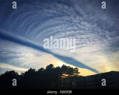 Bergen, Norway, NO. 4th July 2017. NO Weather. Strange cloud patterns created over a long time by an airliner at - Stock Image