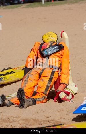 Surf rescue training manikin on Palm beach used for training volunteer surf rescue lifeguards,Sydney,Australia - Stock Image