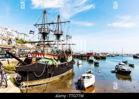 The Golden Hind in Brixham Harbour, Brixham, Devon, UK, England, United Kingdom, The Golden Hind Replica, Brixham Harbour, Golden Hind Brixham, ship, - Stock Image