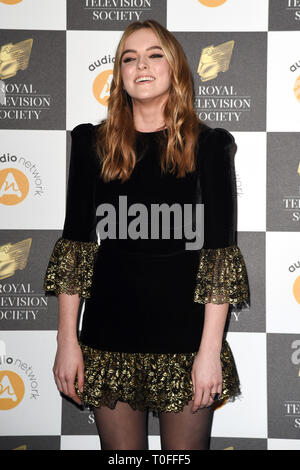 LONDON, UK. March 19, 2019: Jodie Comer arriving for the Royal Television Society Awards 2019 at the Grosvenor House Hotel, London. Picture: Steve Vas/Featureflash Credit: Paul Smith/Alamy Live News - Stock Image