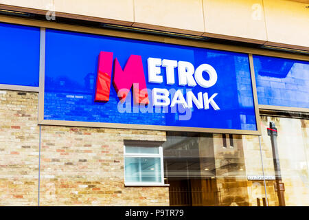Metro Bank PLC is a retail bank operating in the UK, Metro Bank, Metro Bank sign, Metro Bank building, Metro Bank UK, UK Banks, UK bank, banks UK, UK - Stock Image