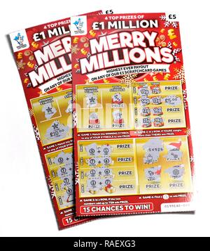 National Lottery Scratch Cards 1 million Merry Millions - Stock Image
