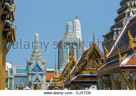 Temple of the Emerald Buddha - Wat Phra Kaew - in Bangkok (Thailand) - Stock Image